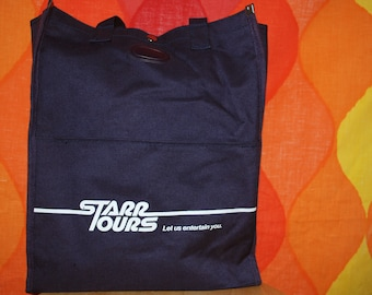 vintage 80s travel bag STARR tours flight messenger carry on tote