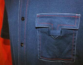 vintage 70s navy sears contrast stitch short sleeve button down western cowboy slinky disco shirt Medium