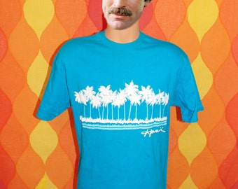 vintage tee shirt 80s teal HAWAII beach palm trees t-shirt Large souvenir