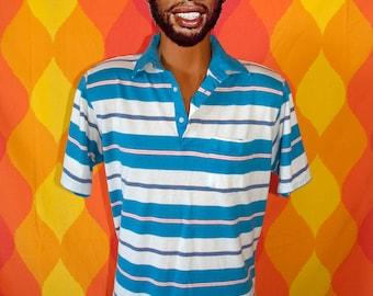 vintage 80s polo shirt teal stripe golf preppy Medium puritan patriotic soft thin silky