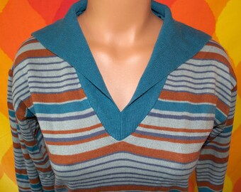 vintage 70s sweater shawl collar women v-neck tunic belt stripe jumper knit soft Medium 80s fun