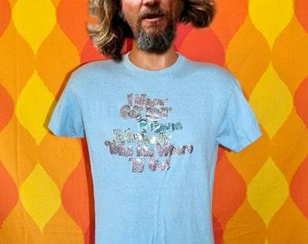 vintage tee shirt 70s i'm never LOST glitter sparkles iron on t-shirt Medium