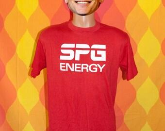 vintage tee shirt 70s SPG energy san francisco california solar power t-shirt Large