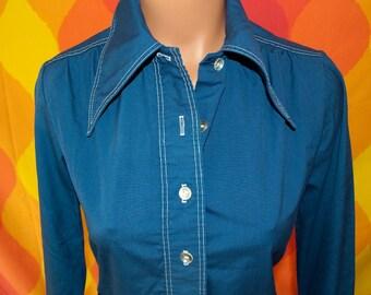 vintage 70s blouse contrast stitch shirt jacket navy butterfly collar Medium women shacket