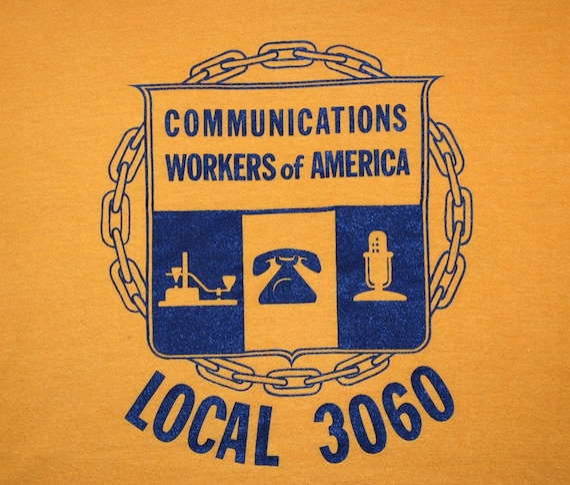vintage tee shirt 80s UNION communications workers LOCAL 3060 t-shirt Medium phone