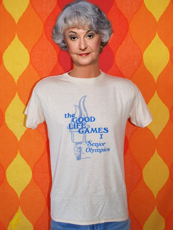 vintage 70s t-shirt GOOD LIFE games senior olympics tee shirt Medium ched torch 1979 fitness