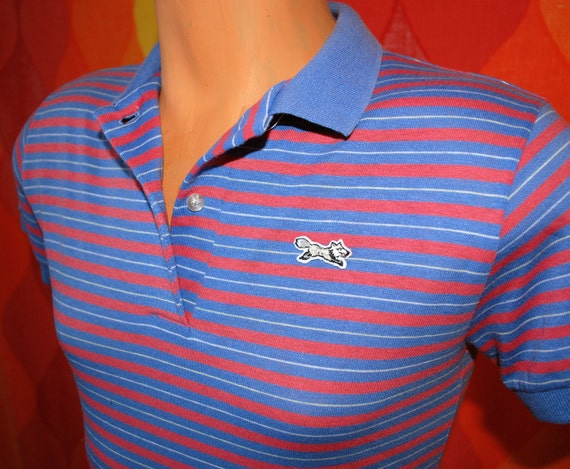 vintage 80s blue pink jc penney FOX striped golf polo shirt XS