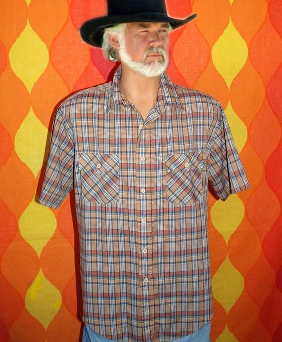 vintage 80s brown plaid roebucks short sleeve button down western cowboy campus hipster shirt XL