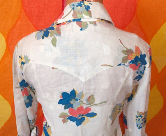 vintage 70's floral western shirt tem tex fancy pearl snap blouse Small cowgirl flower button down