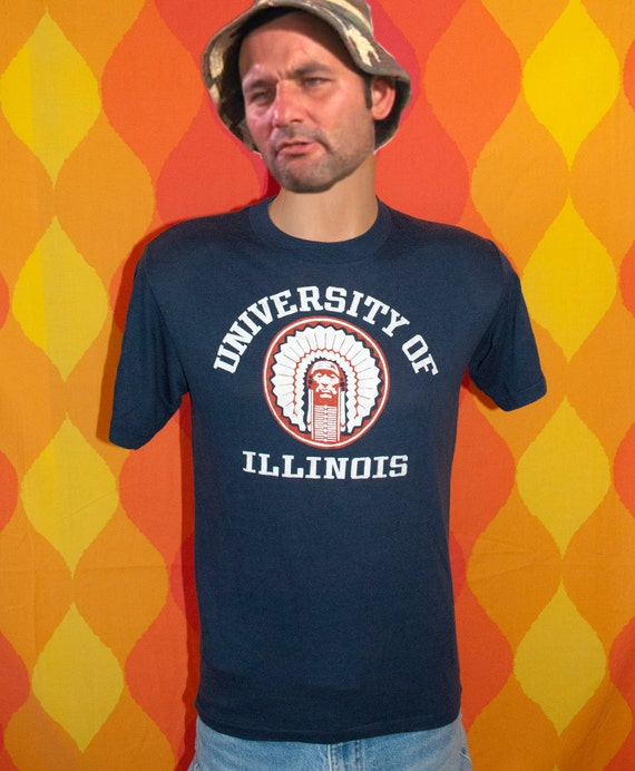 vintage 70s t-shirt university of ILLINOIS chief fighting illini t-shirt Medium soft thin urbana champaign 80s