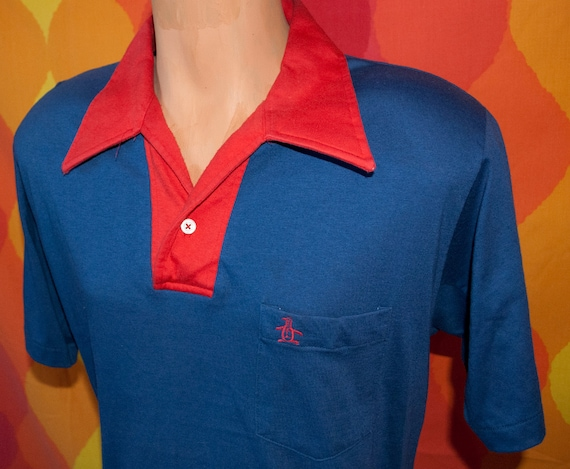 vintage 70s GRAND SLAM munsingwear penguin navy red contrast golf polo shirt Large 80s