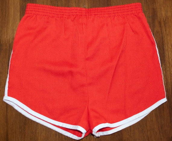 Vintage 70s Jogging Shorts Red Stripe Running Gym Kids