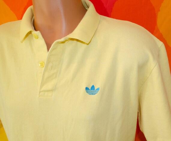 vintage 80s polo golf shirt ADIDAS trefoil tennis preppy hip hop Large