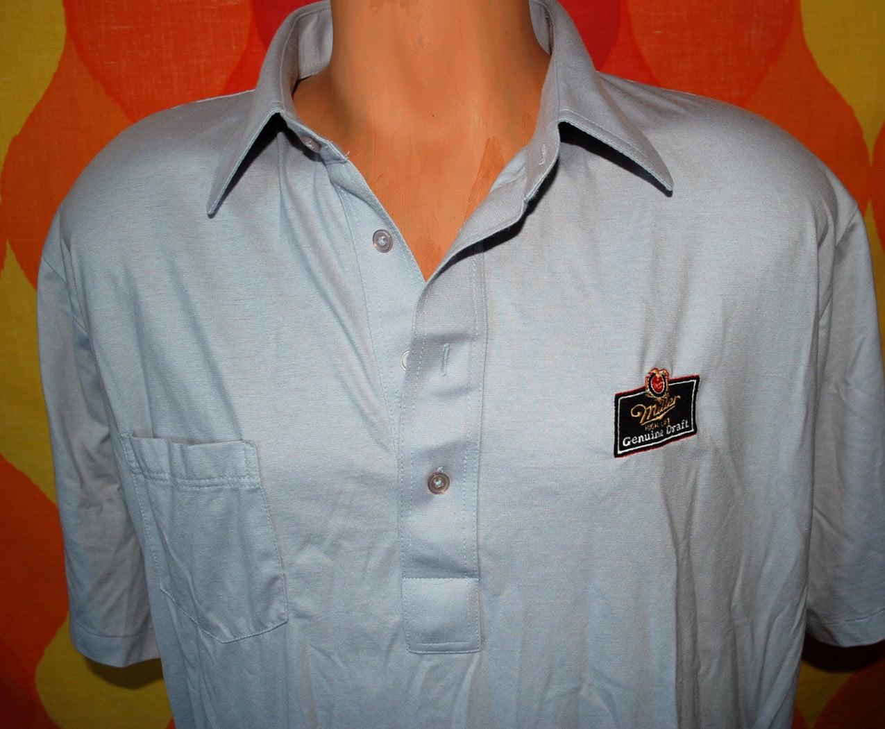 Vintage 80s polo shirt miller beer mgd high life genuine draft for Vintage miller lite shirt