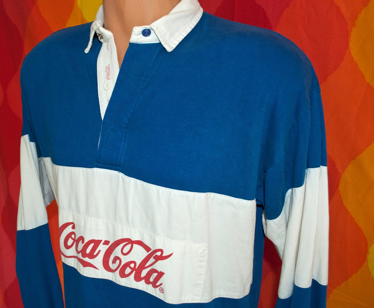 Vintage 80s Coca Cola Rugby Shirt Coke Stripe Large Royal Blue