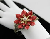 Red Flower Cuff Bracelet