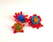Bright Felt Hand Embroidered Mini Pins Set of 3