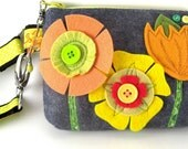 Citrus Wool Felt Camera or Gadget Case with Attachable Strap