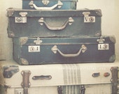 The Journey Begins - 8x8 nostalgic, rustic photo of vintage suitcases - travel and adventure, wanderlust, still life, neutral tones, blue
