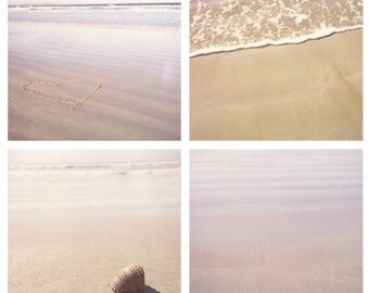 Beach Lover - beach photo set, 4 square photos, polaroid, sand and subtle purpley tones, love heart, wave, shell, beach decor, ocean photos