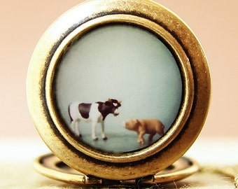 The Cow and the Pig - Photo Locket Necklace-Collaboration with heartworksbylori