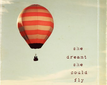 SALE - Hot air ballon photography, typography wall art, stripes, kids wall art, girls room decor, for her - She Dreamt She Could Fly
