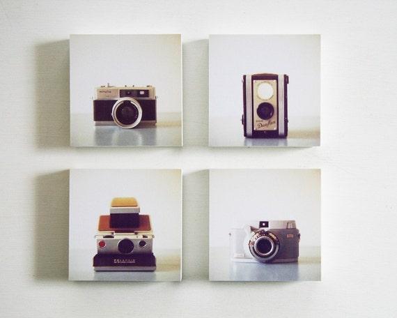 Vintage Cameras - set of 4 photo blocks