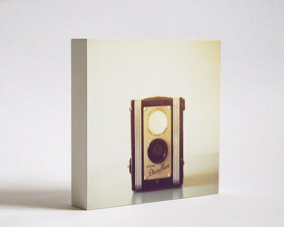 SALE last one! The Duaflex photo block, camera room decor, dorm decor, for him, vintage camera art, sepia, office wall art