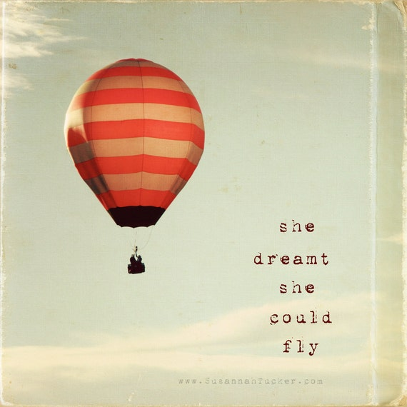 Hot air ballon photography, typography, red white stripes, kids wall art, girls room decor, nursery art, for her - she dreamt she could fly