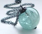 Huge Aquamarine silver chain necklace. Aqua blue gemstone wirewrapped pendant. Geometric round, black metal. March birthstone, sea jewellery