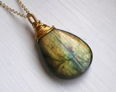 Gold fire Labradorite necklace. Golden green Aurora Borealis wire wrapped pendant stone, long chain. Woodland jewellery