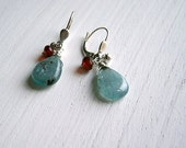 Kyanite Teardrop Red Glass Earrings Bright Silver Leverbacks Blue Sea Green Kyanite Faceted Ruby Glass Accent Ocean Drops Earrings