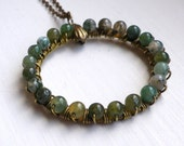 Wire Wrapped Mossy Agate Circle Necklace. Antiqued Brass Metal. Chain.