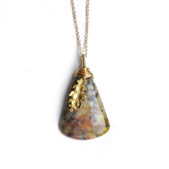 Mossy Natural African Opal Golden Chain Necklace Wire Wrapped Focal Oak Leaf Long Gold Chain Necklace