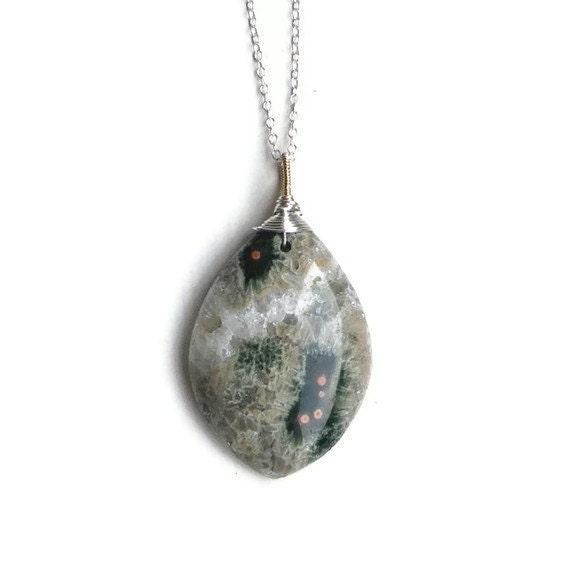 Ocean Jasper druzy pendant silver chain necklace. Sea moss green sage olive verdigris mineral crystal stone. Mineralogy jewellery