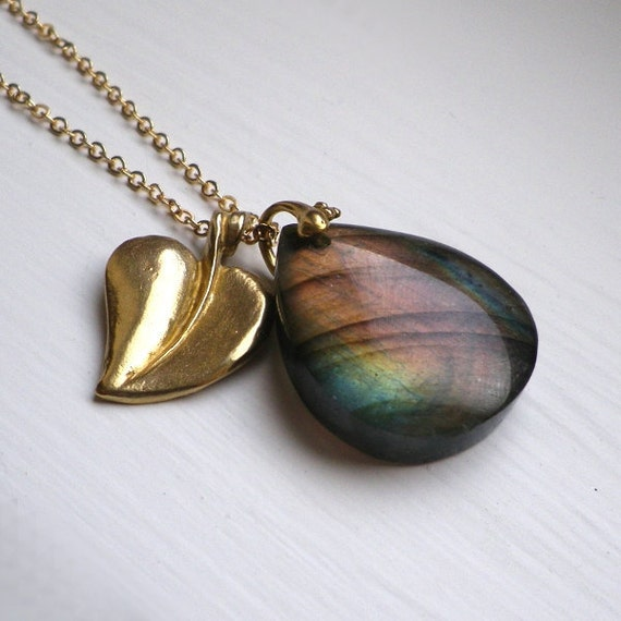 Earth Labradorite Gold Leaf Pendant Chain Necklace Autumn Woodland