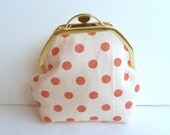 Coral and Cream Polka Dot Cosmetic Bag
