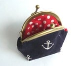 Navy Blue and White Nautical Anchor Print Coin Purse - iPod Earbud Case