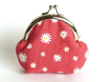 Red and White Summer Daisy Print Coin Purse, Change Purse, iPhone Earbud Case