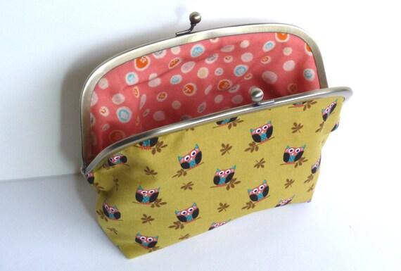 Green Cotton Owl Print Cosmetic Purse, Makeup Bag, Handbag Organiser, Pencil Case Pouch