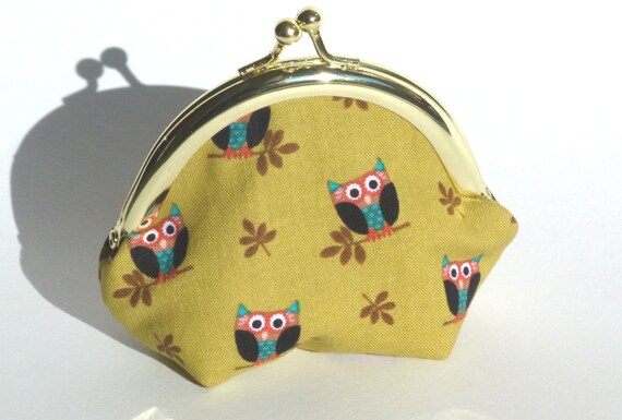 Owl Print Coin Purse - ipod Earbud Case