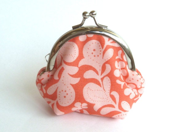 Coral and Pink Decorative Print Coin Purse - iPod Earbud Case