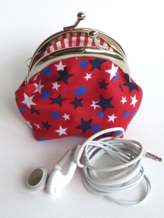Red White and Blue Stars Print Coin Purse, Change Purse, Key Pouch, iPhone Earbud Case