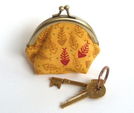 Yellow and Red Fishbone Print Coin Purse, Change Purse, Key Pouch, iPhone Earbud Case
