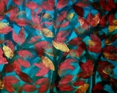 Handpainted Fabric---Copper Leaves