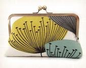 Dandelion clocks silk-lined clutch bag