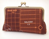 House plans silk-lined clutch bag