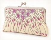 silk clutch purse, starburst bloom