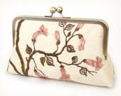 luxury clutch purse, embroidered silk blooms