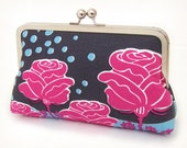 SALE Raindrops & roses clutch : Silk-lined purse